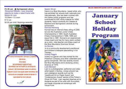 January School Holiday Brochure 1