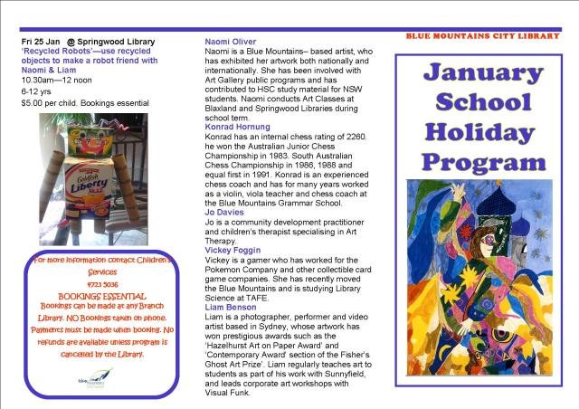 January School Holiday Brochure 1