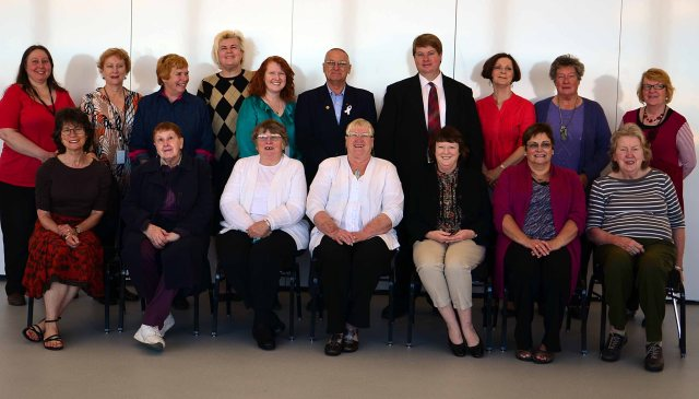 Library volunteers with Library staff and BMCC Mayor, Cllr Daniel Myles