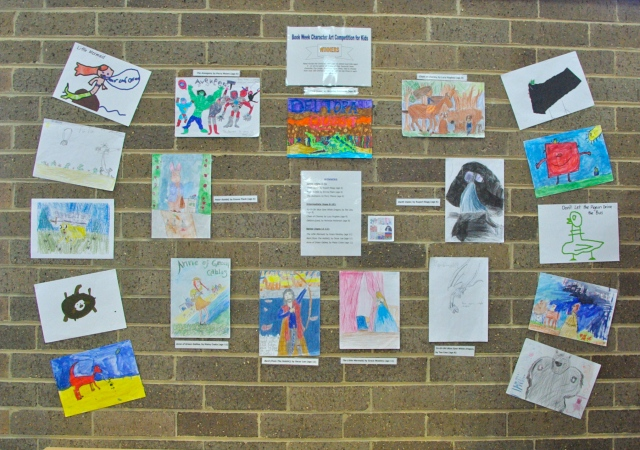 Display of entries (including winners) at Springwood Library