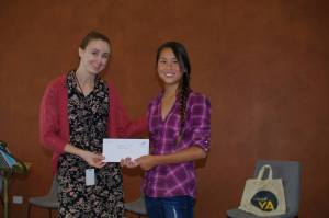 Chloe Judson, awarded for her winning artwork.